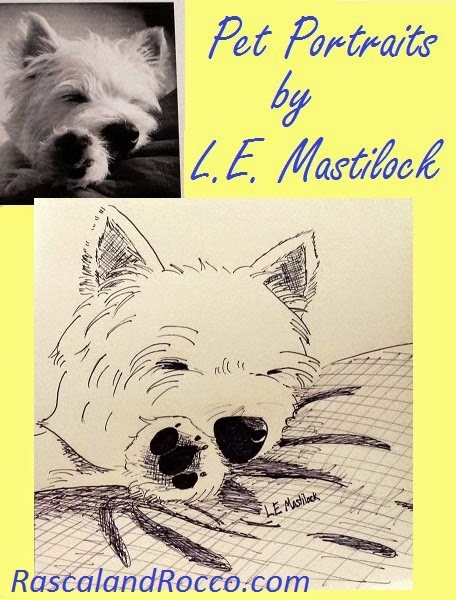 Pet Portraits pen and ink by L.E. Mastilock