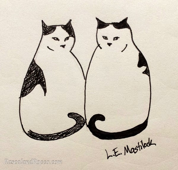 cats pen and ink illustration by L.E. Mastilock